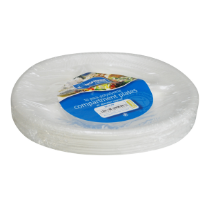 "10"" Compartment Divided White Polystyrene Plates by Kingfisher Catering (Pack of 10)"